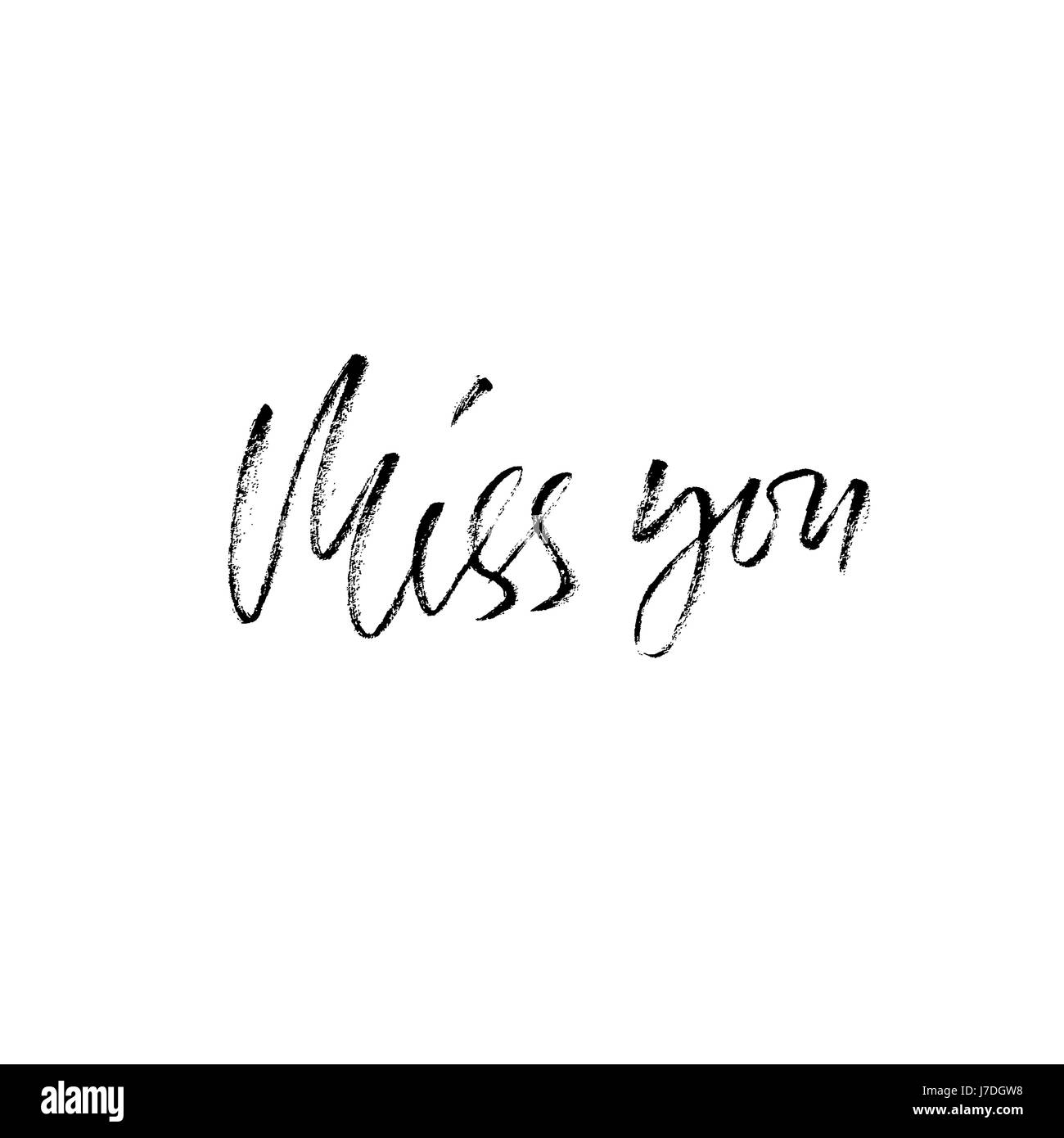 Miss you inscription greeting card with calligraphy hand drawn miss you inscription greeting card with calligraphy hand drawn modern dry brush lettering design vector typography kristyandbryce Image collections