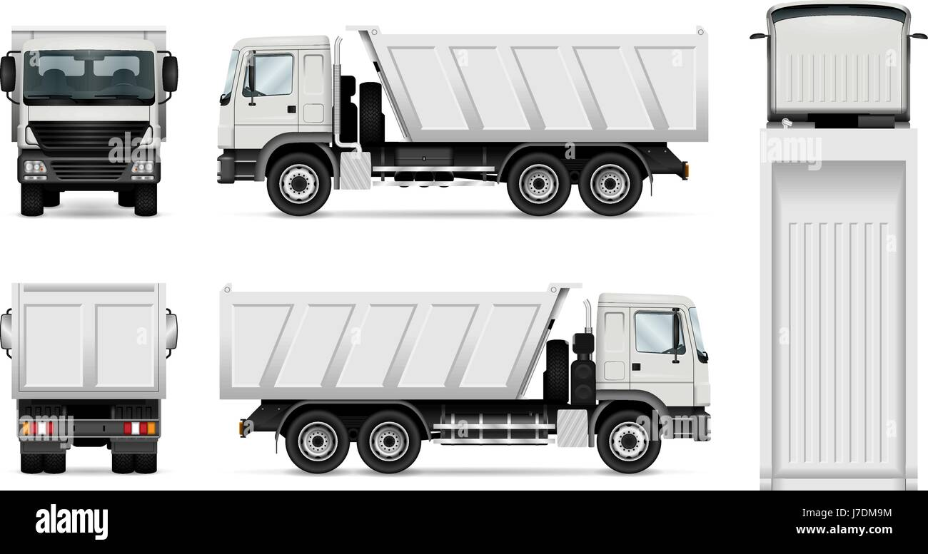 vector dump truck isolated white tipper lorry all