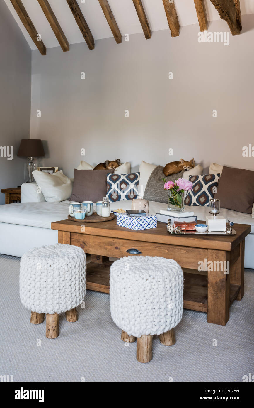 Chunky Knit Mini Stools From Cox U0026 Cox In Open Plan Living Room With  Ceiling Beams And Sleeping Chihuahua Dogs. The Walls Painted In Light Grey  By Alb
