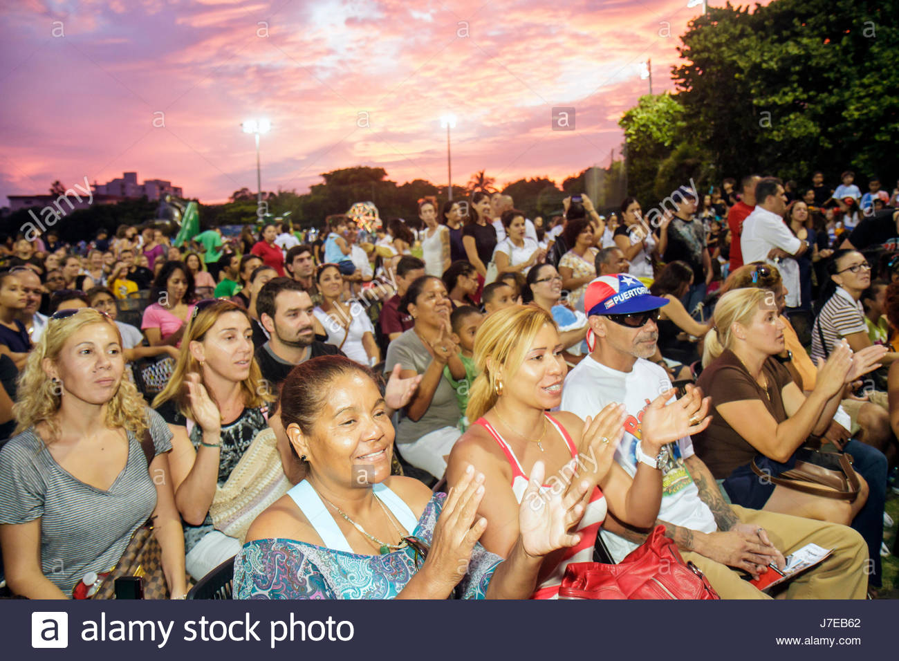 Miami Beach Florida North Northshore Park Hispanic Heritage Festival Audience Watching Performance Woman Man Families Suns