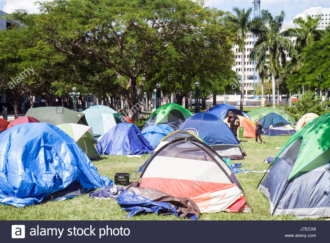 Miami Florida Stephen P. Clark Government Center centre downtown Occupy Miami anti Wall Street movement tents c&ing out protes & Miami Florida Stephen P. Clark Government Center centre downtown ...