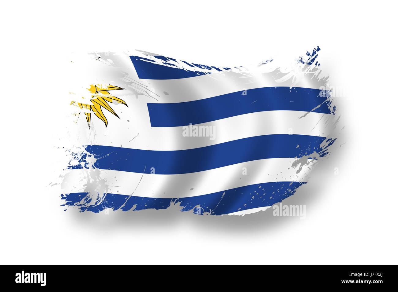 Flag National Uruguay Flag Blow National Uruguay Pictogram Symbol - Uruguay flag