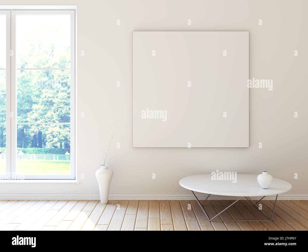 Interior Mockup Illustration Of White Room With Window And Blank Square Board On The Wall