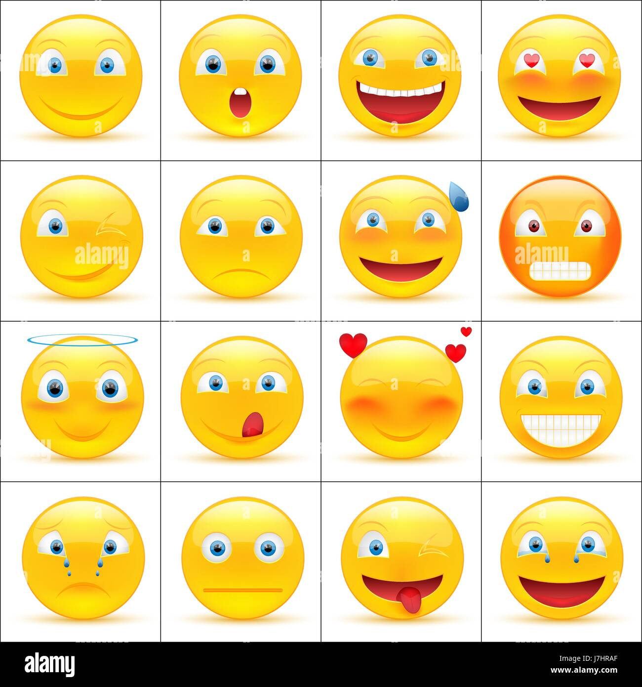 Set of emoticons smiley faces icons or yellow emoji with set of emoticons smiley faces icons or yellow emoji with different facial expressions in glossy 3d realistic isolated on white background buycottarizona Images