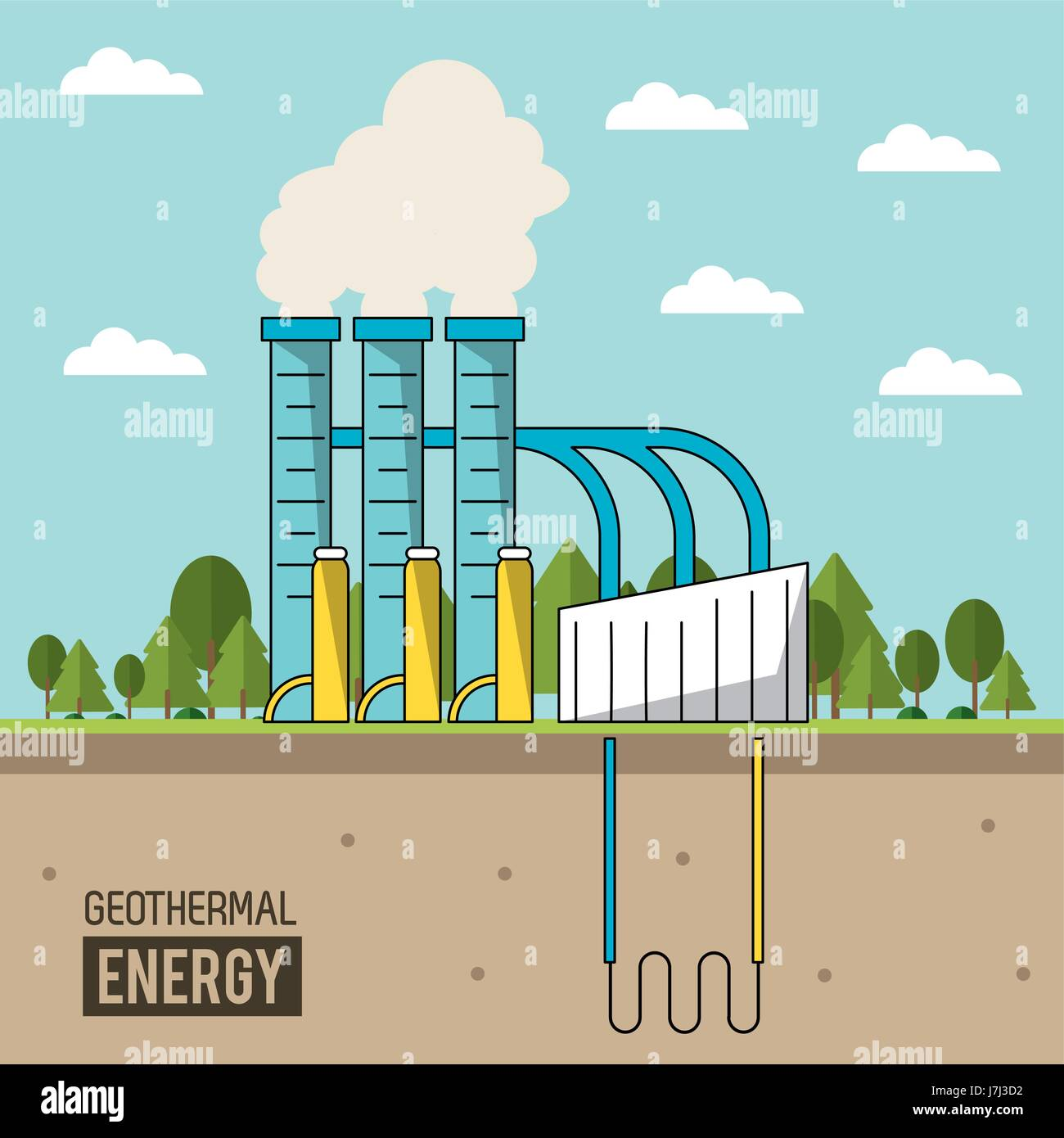 Coloful background geothermal energy production plant with forest coloful background geothermal energy production plant with forest pooptronica