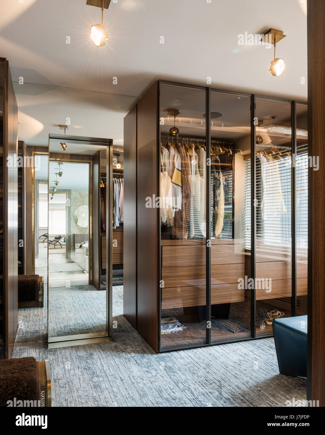 Glass Fronted Wardrobes By Porro And Ceiling Lights Laura Meroni