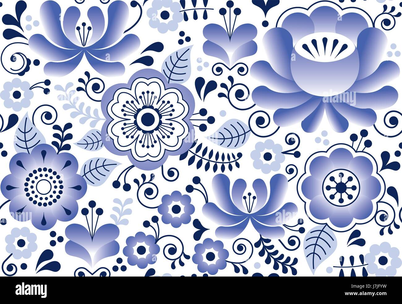 Artistic floral element abstract gzhel folk art blue flowers stock - Gzhel Seamless Pattern Russian Folk Art Design Retro Ceramics Style Gzhel Seamless Pattern