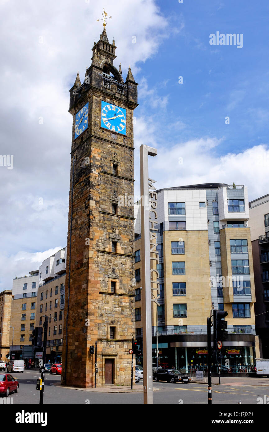 old clock tower at glasgow cross at the junction of high street and stock photo royalty free. Black Bedroom Furniture Sets. Home Design Ideas
