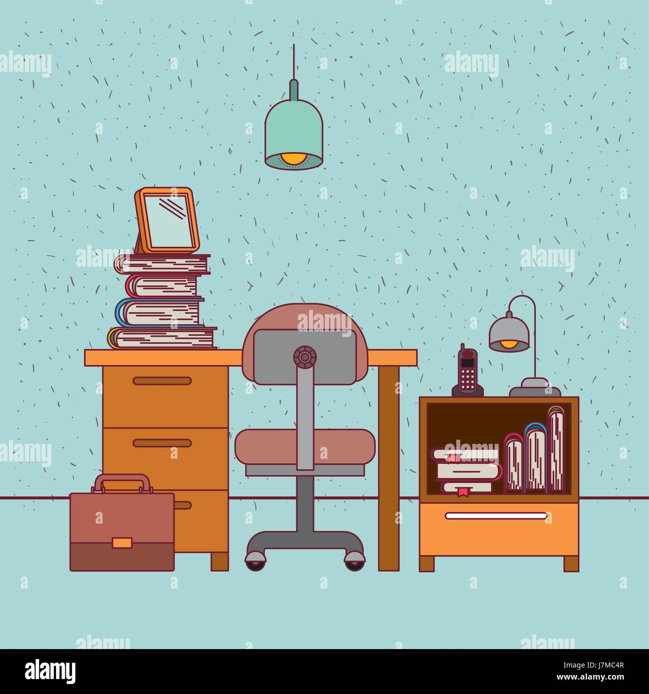 Color art office interiors - Stock Vector Color Background With Sparkles Work Place Office Interior With Nightstand With Phone Lamp And Books