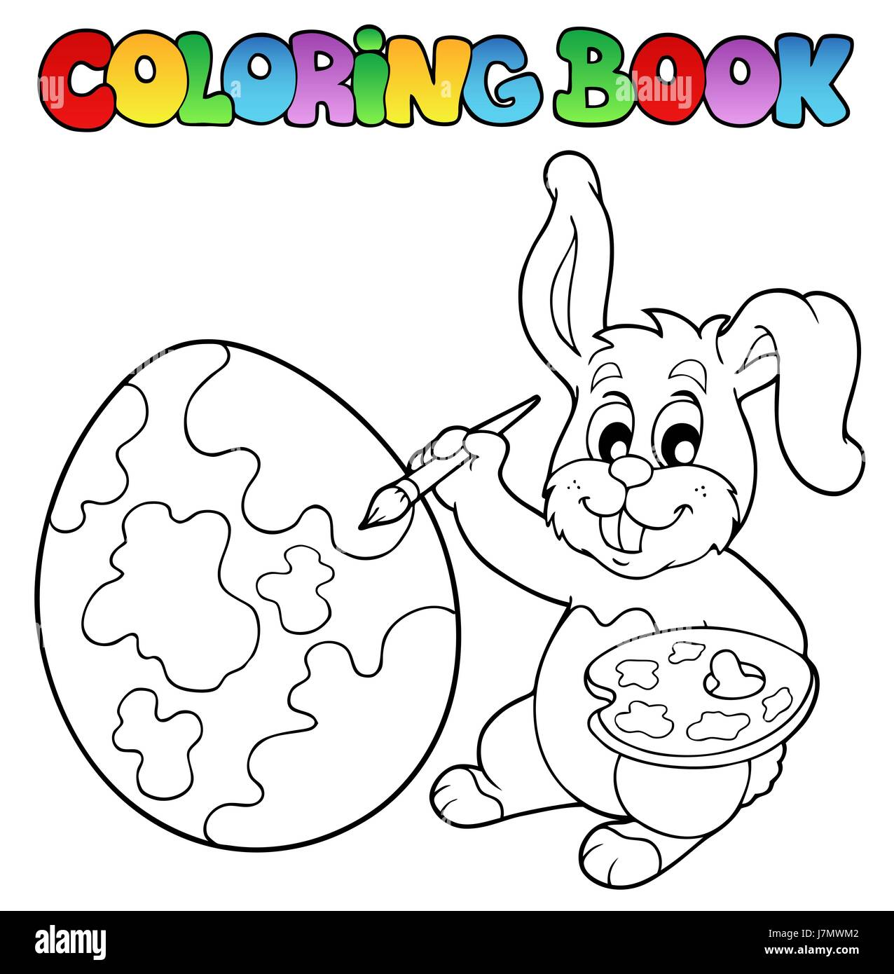 colour easter rabbit paint bunny bunnies painted colouring book art holiday