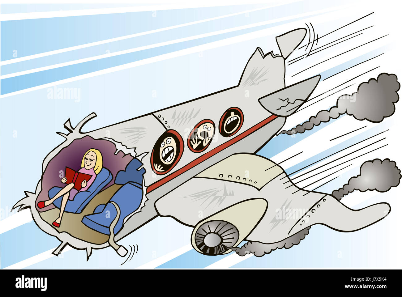 woman illustration calm cartoon crush aircraft aeroplane plane