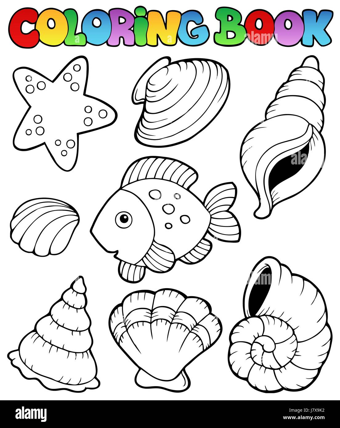 Colour book art - Stock Photo Colour Shell Paint Painted Seashell Colouring Shells Mussels Book Art Colour