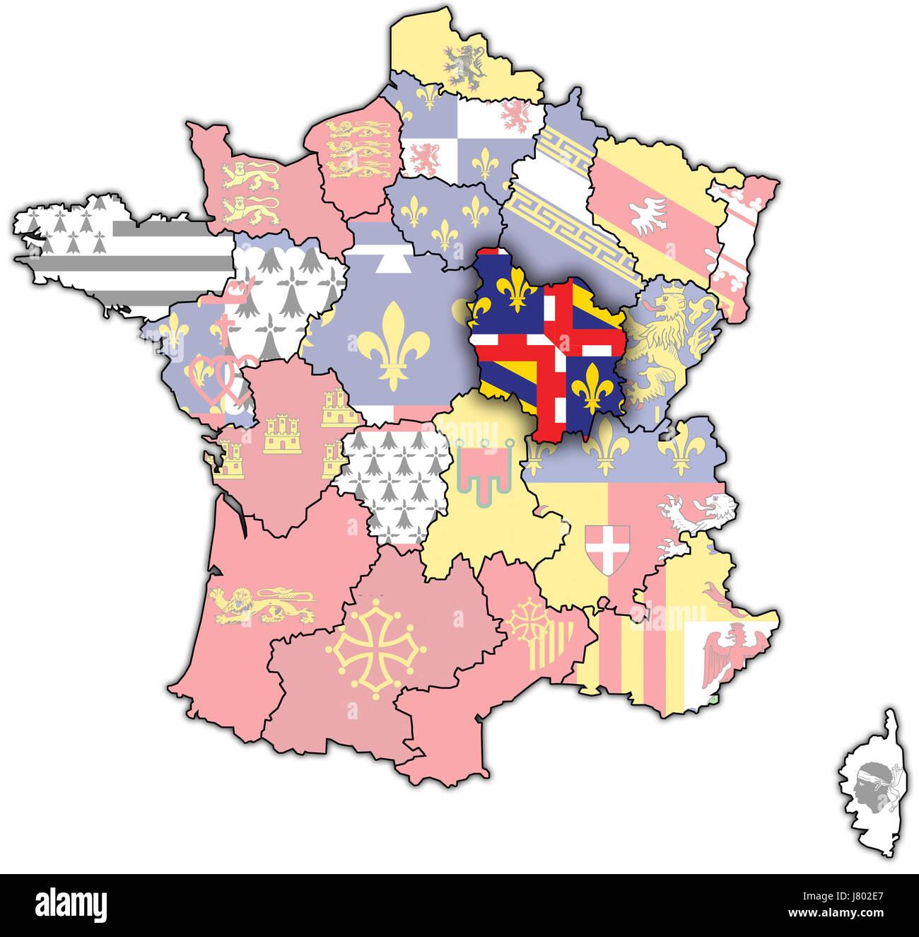 france flag region map atlas map of the world political colour