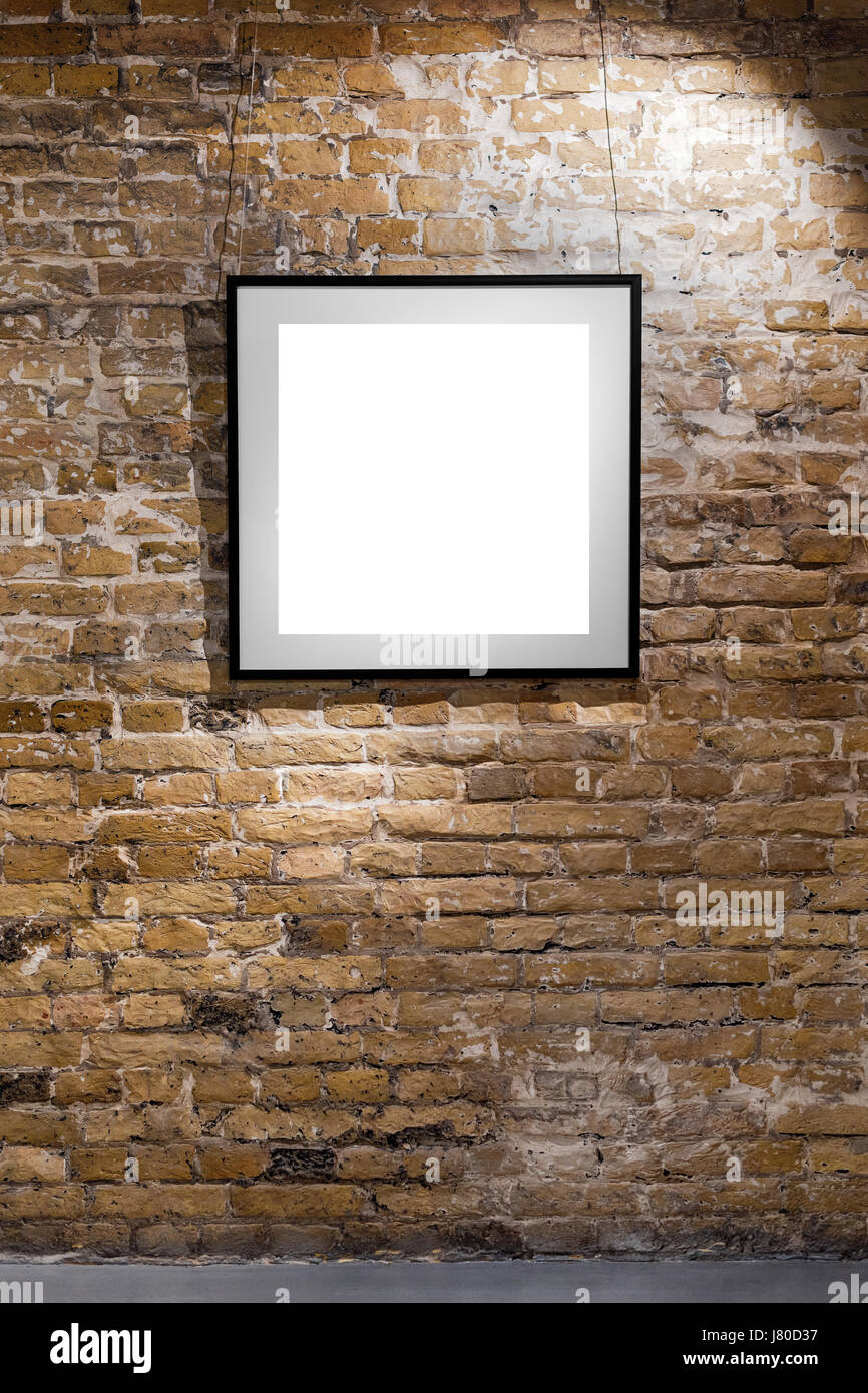 Empty frame on light brick wall. Blank space poster or art frame Stock Photo, Royalty Free Image ...