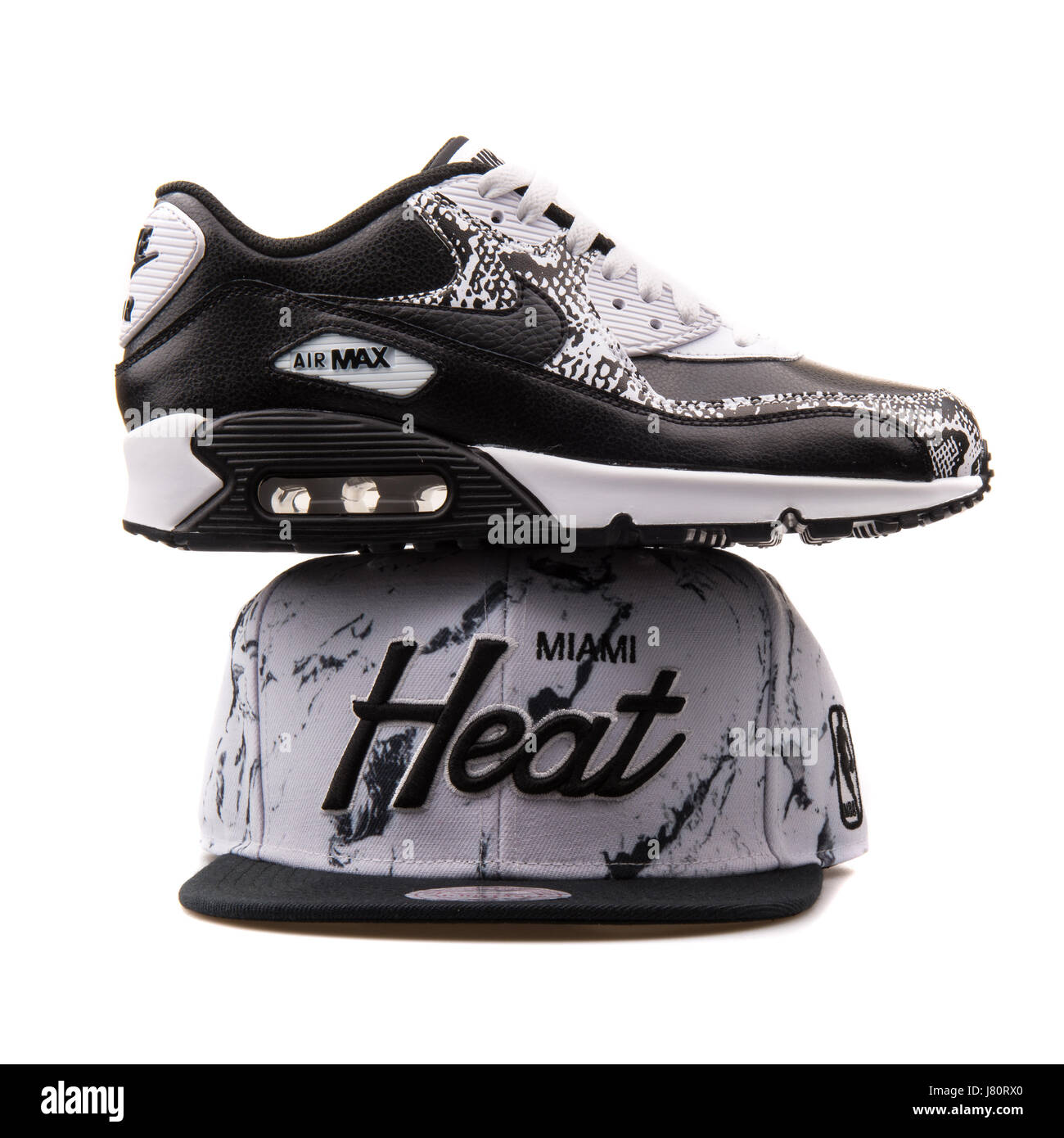 Black and White Nike Air Max sneaker and Black and White Mitchell & Ness  Miami Heat Cap