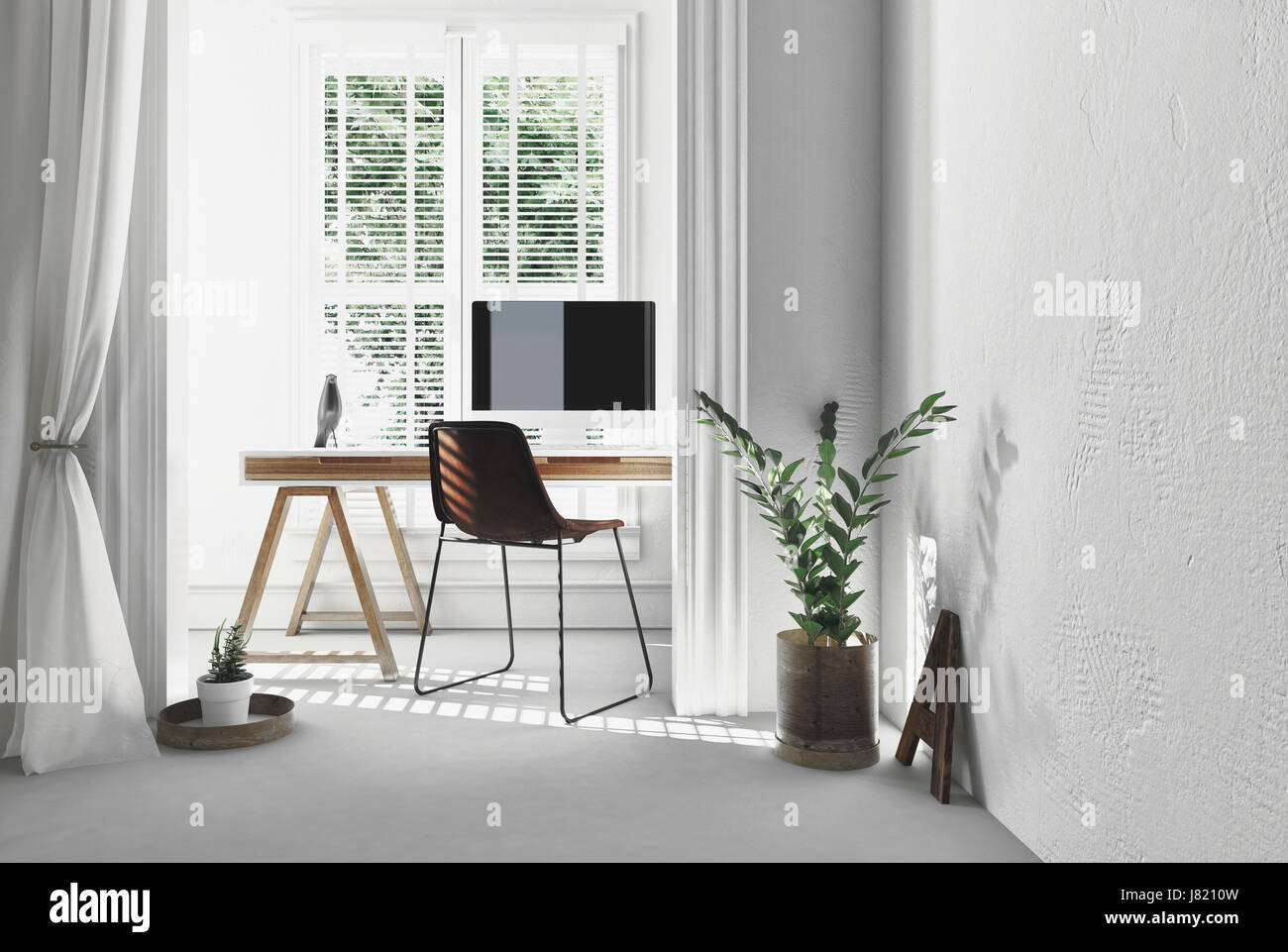 Modern Simple Office With A Wooden Trestle Desk , Chair And Computer In  Sunny Alcove Large Window Blinds Potted Plant White Decor