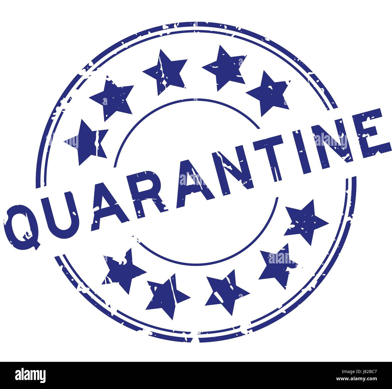 Grunge blue quarantine with star icon round rubber seal stamp on grunge blue quarantine with star icon round rubber seal stamp on white background biocorpaavc Image collections