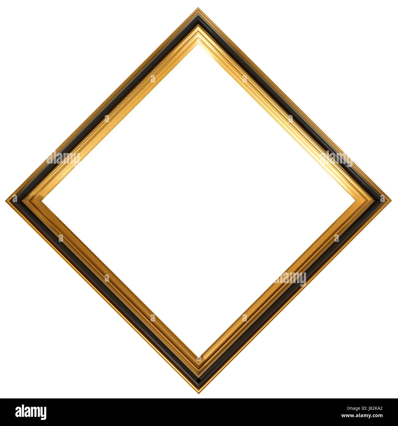art isolated antique gilt square diamond frame gold framework Stock ...