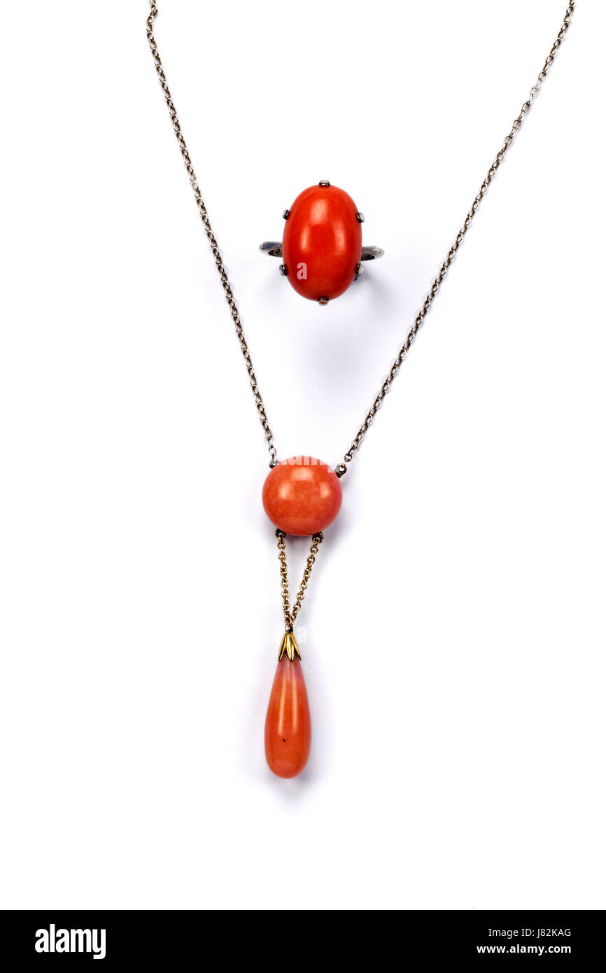 Red coral single stone ring and matching coral pendant necklace red coral single stone ring and matching coral pendant necklace mozeypictures Images