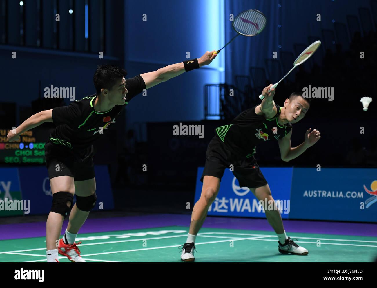 Gold Coast Australia 28th May 2017 China s Fu Haifeng L and