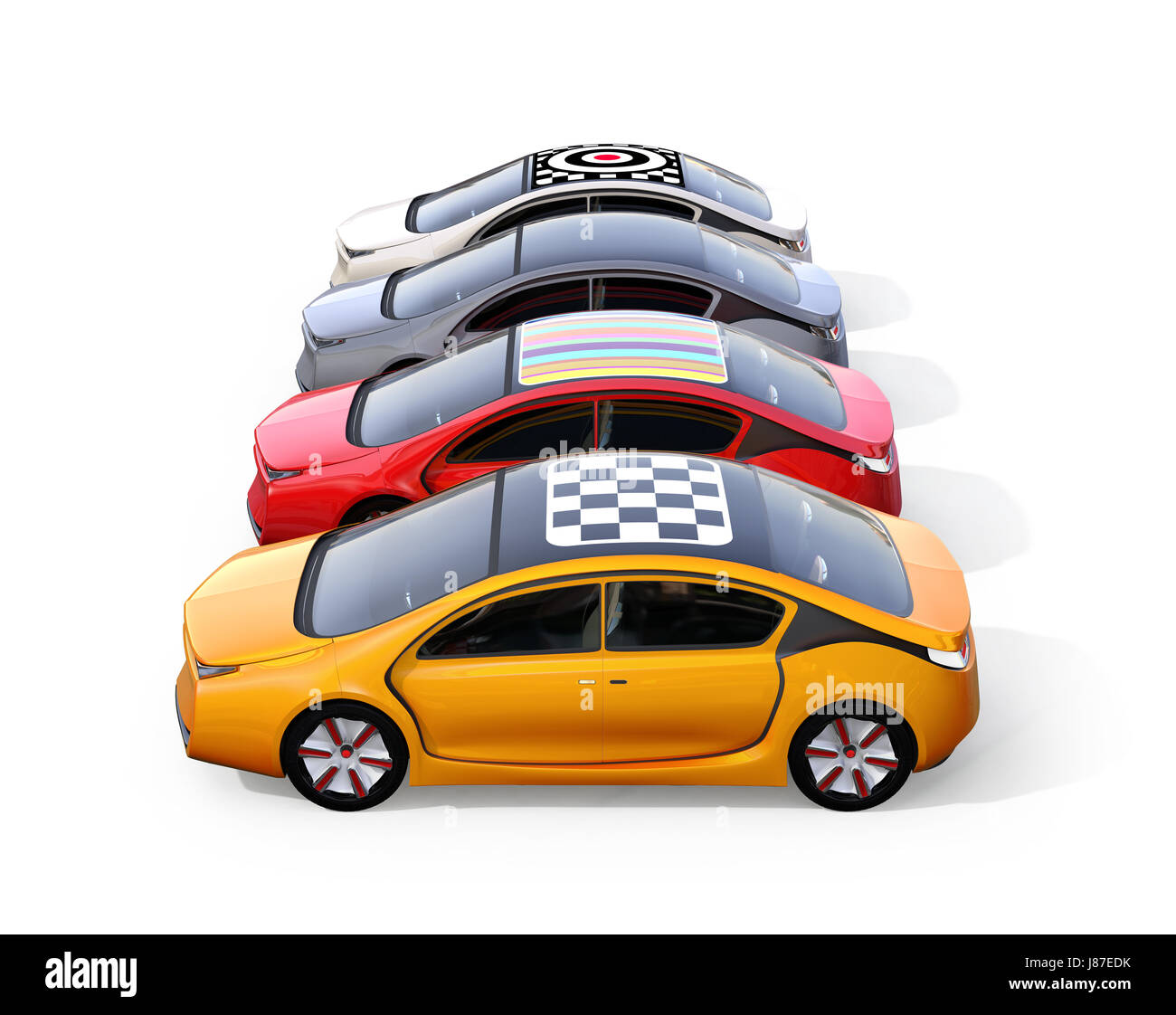 Colorful Electric Cars Isolated On White Background Rendering