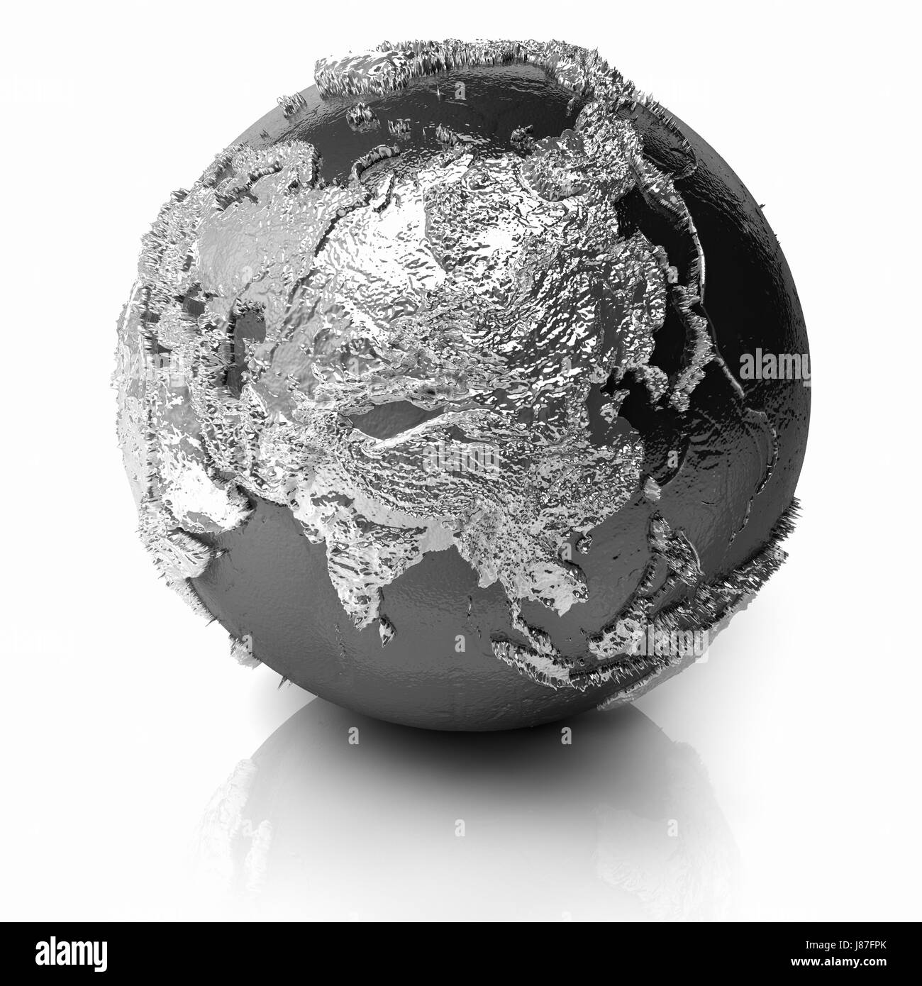 Asia Silver Globe Planet Earth World Topography Grey Gray - World topography