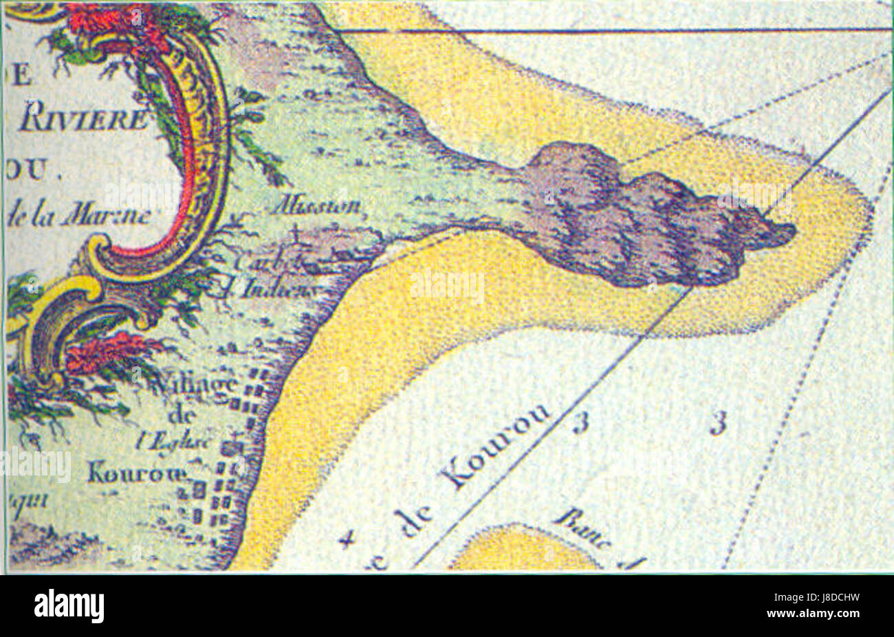 Kourou bellin carte map detail 1762 Stock Photo Royalty Free Image