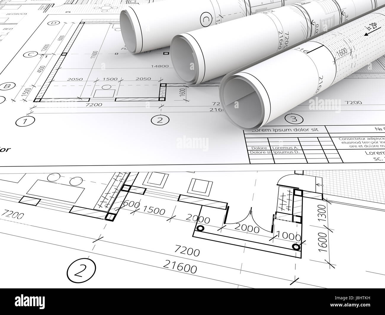 Generic Architectural Blueprints, Drawings And Sketches. 3 Rolls. 3D Render