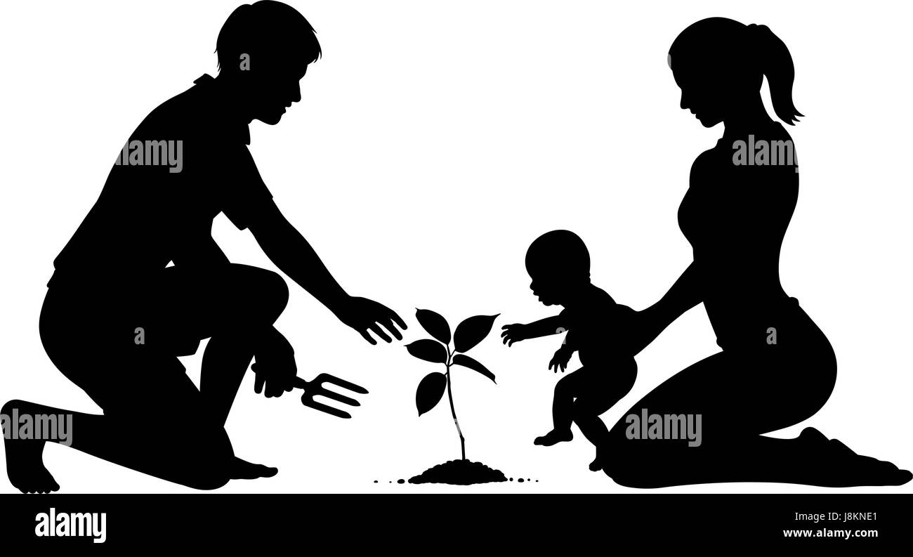 editable vector silhouette of parents with a baby planting