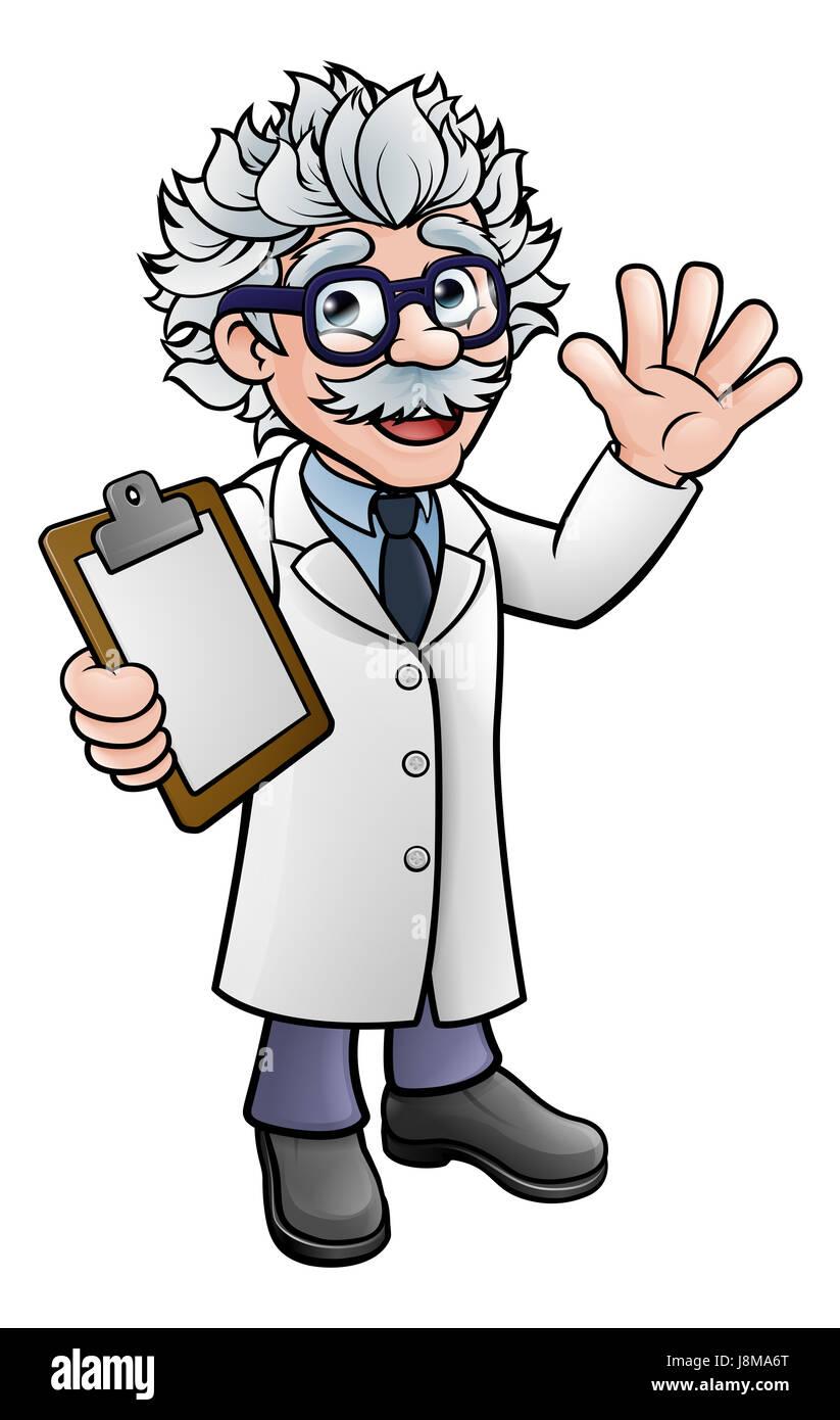 A cartoon scientist professor wearing lab white coat ...