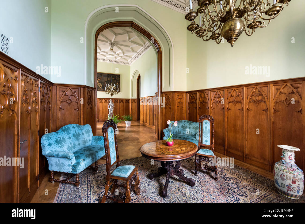lednice, czech republic - may 06, 2017: blue hall in lednice