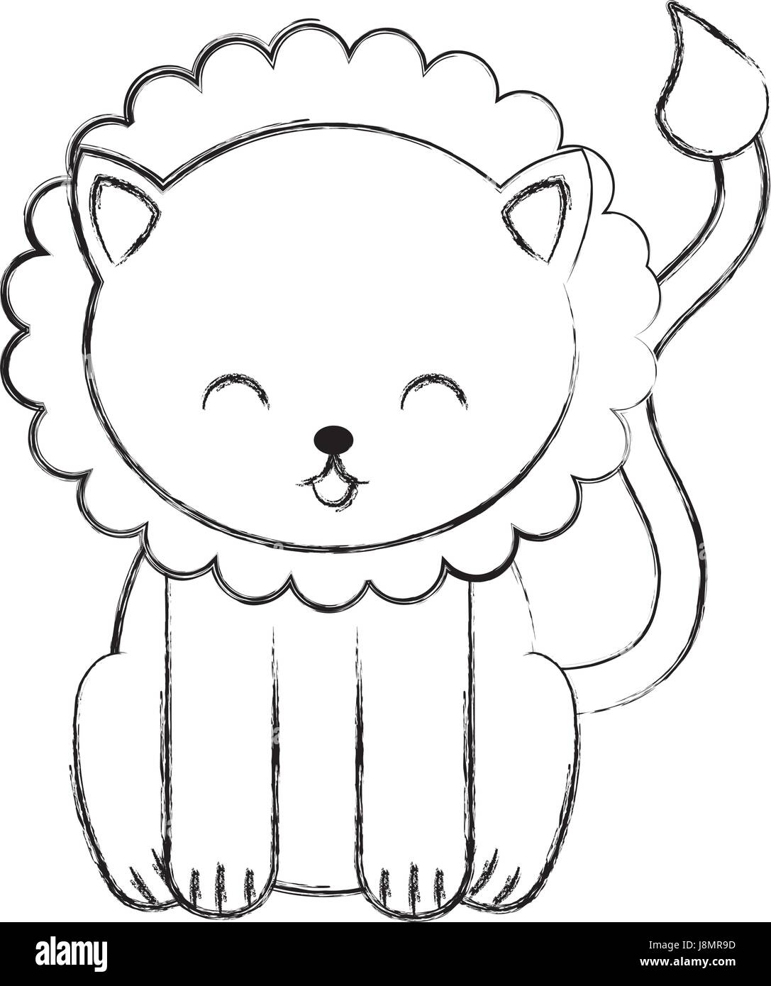 cute sketch draw lion cartoon
