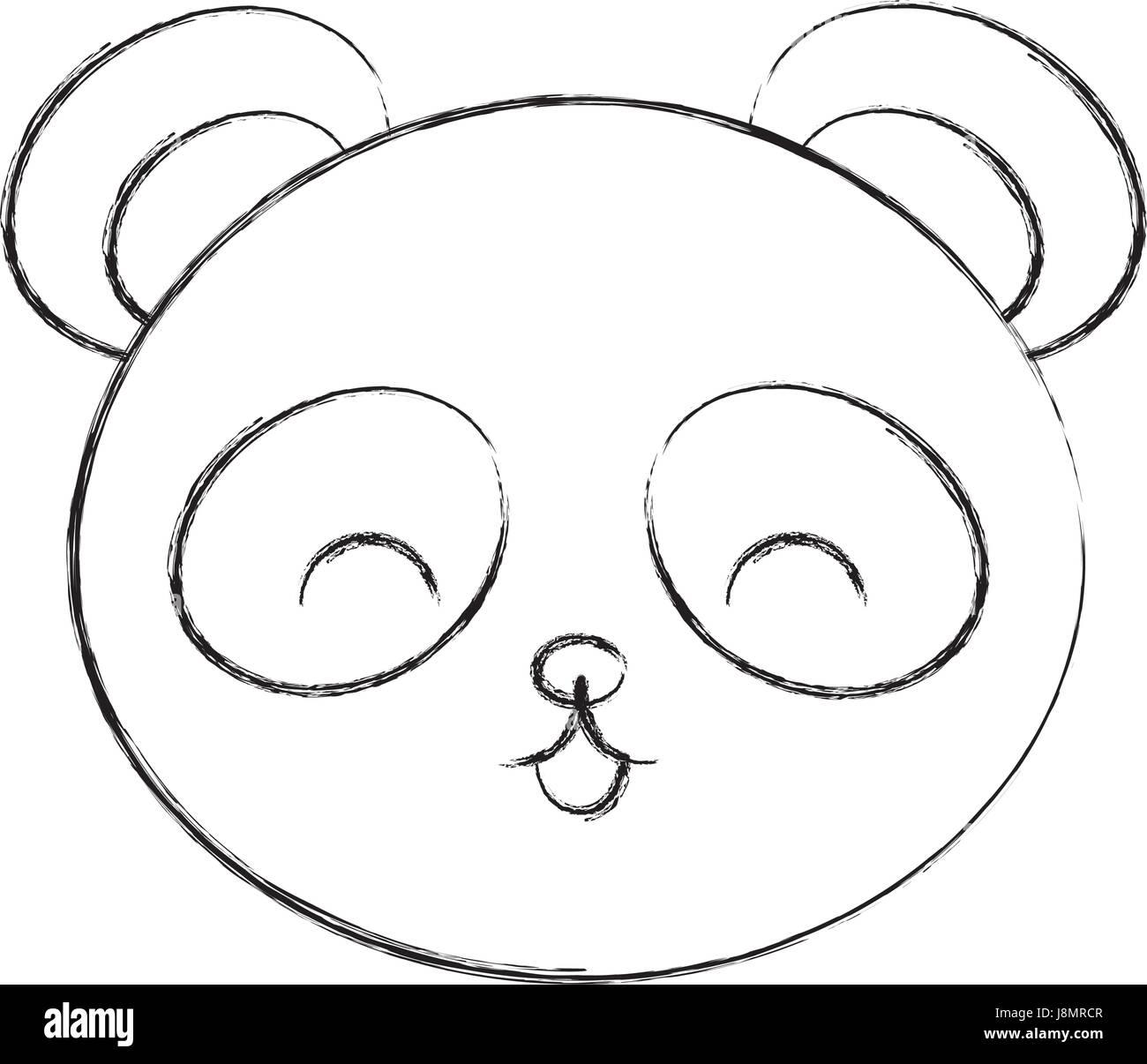cute sketch draw panda bear face stock vector art