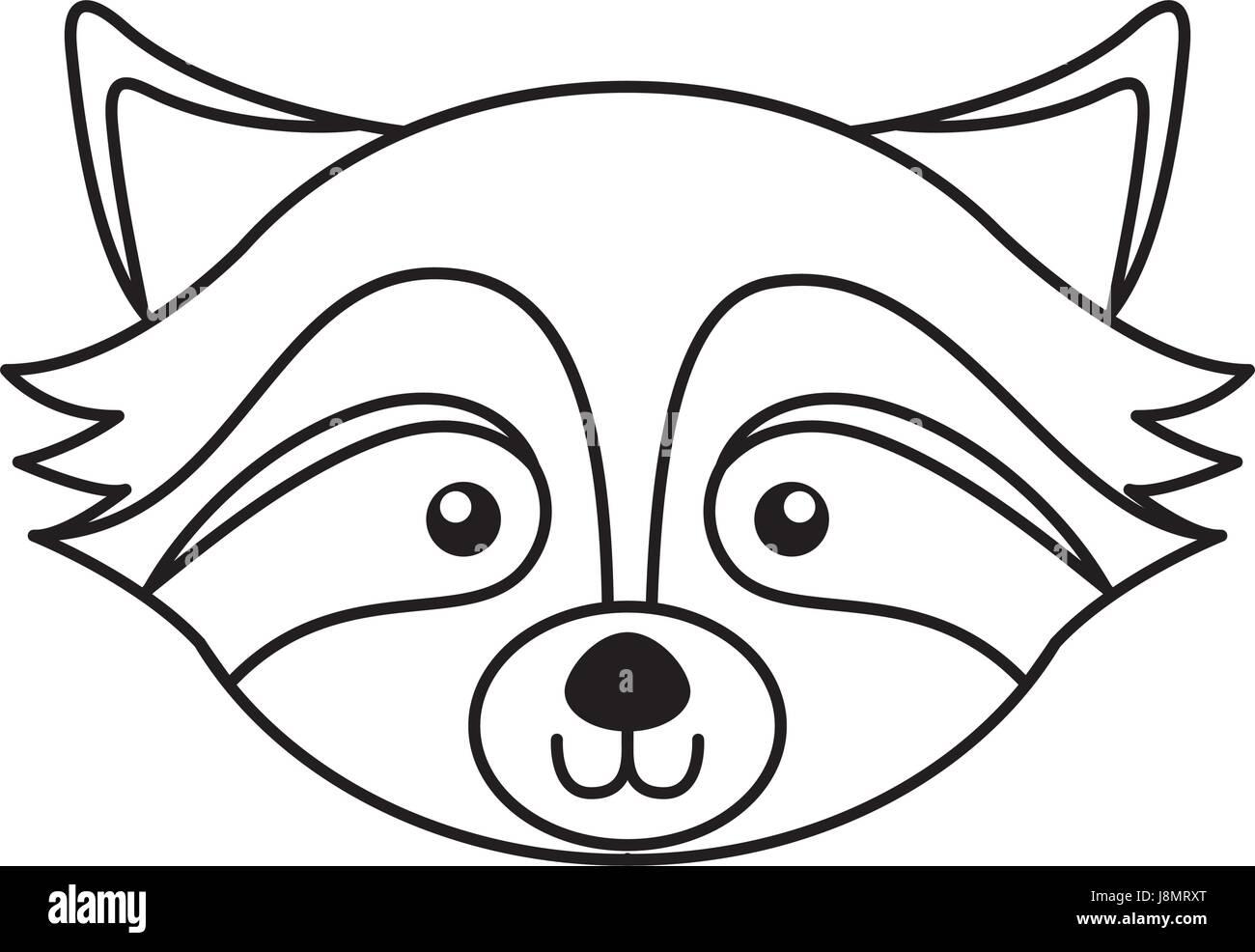 Line Drawing Raccoon : Cute raccoon face cartoon stock vector art illustration