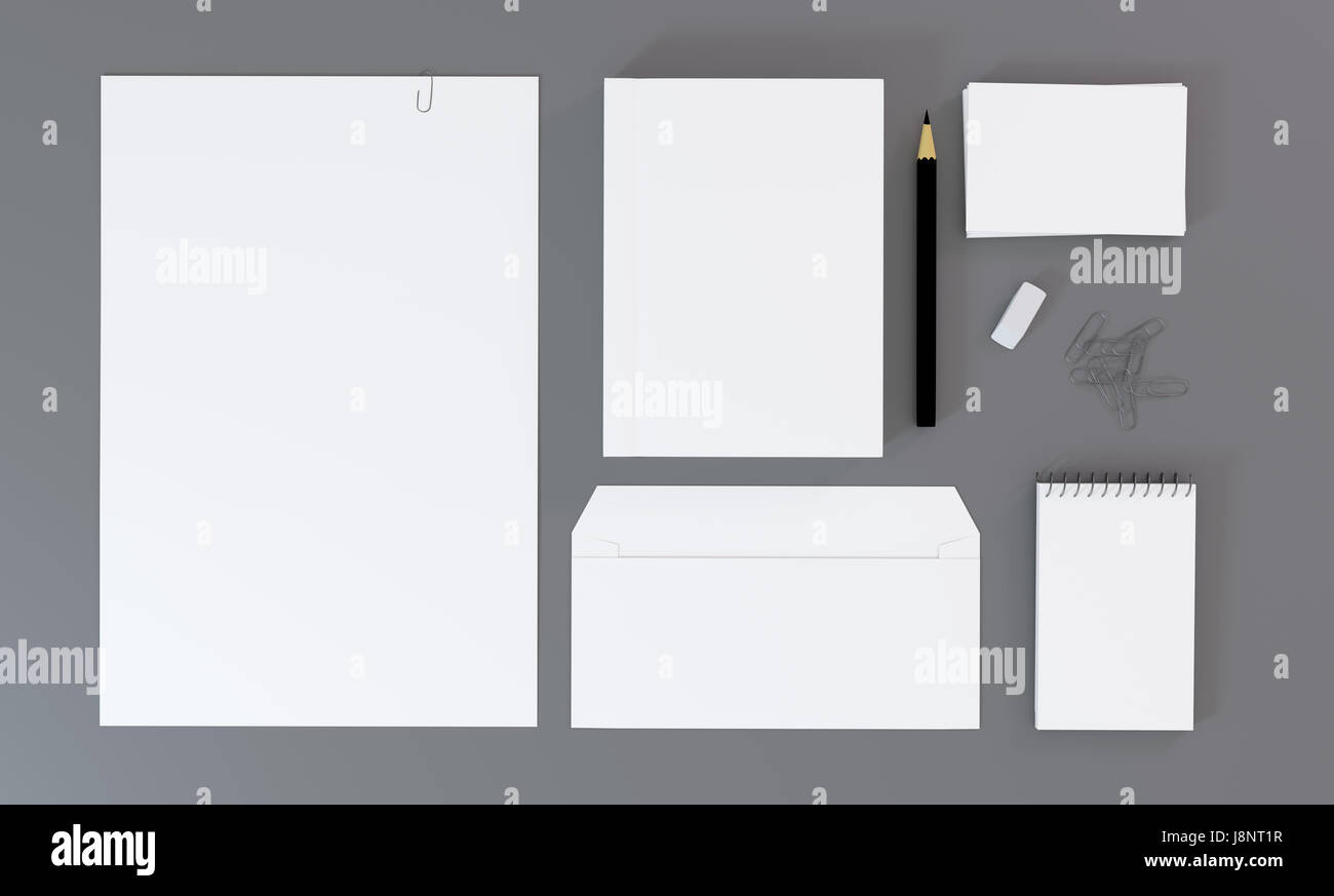 Top view of blank white stationery and corporate identity template ...