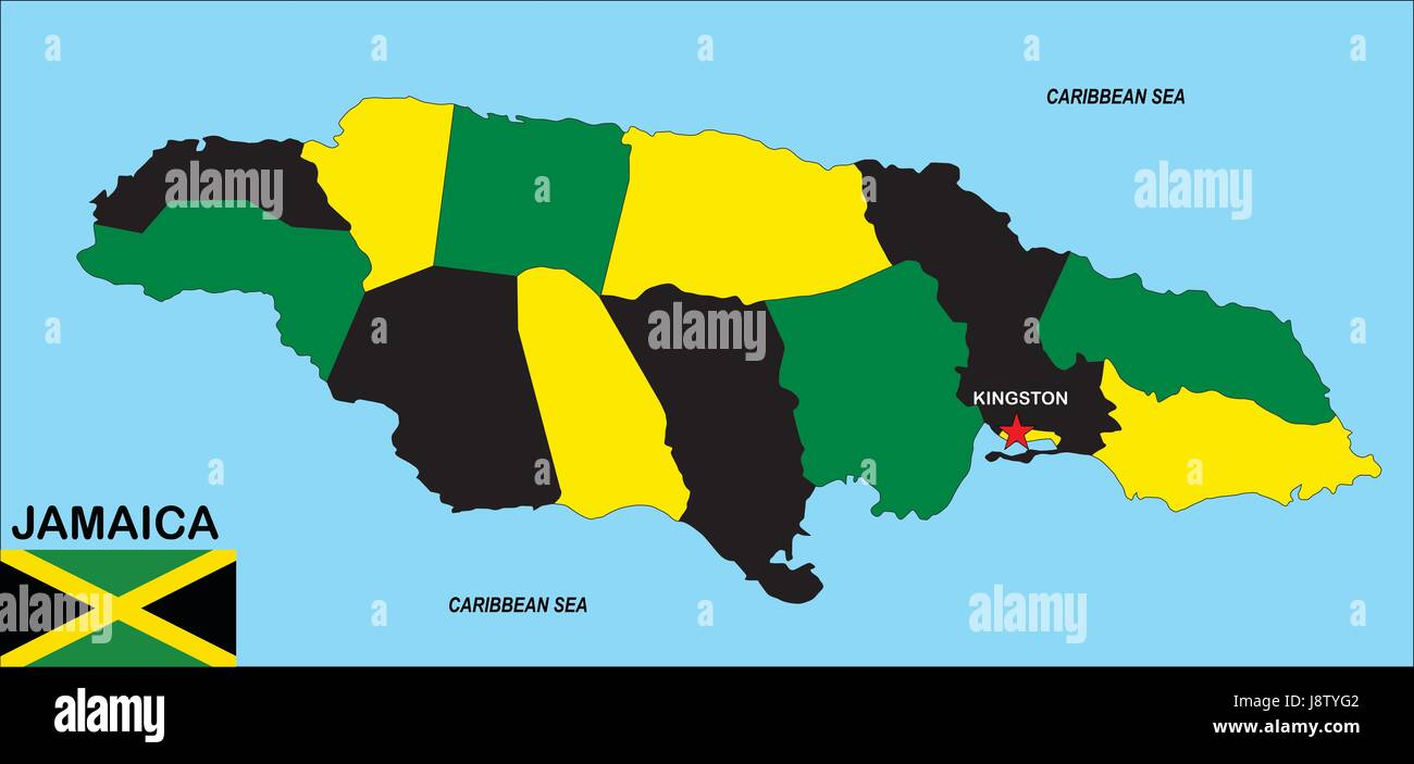 Jamaica Map Atlas Map Of The World Political Flag Country - World map jamaica