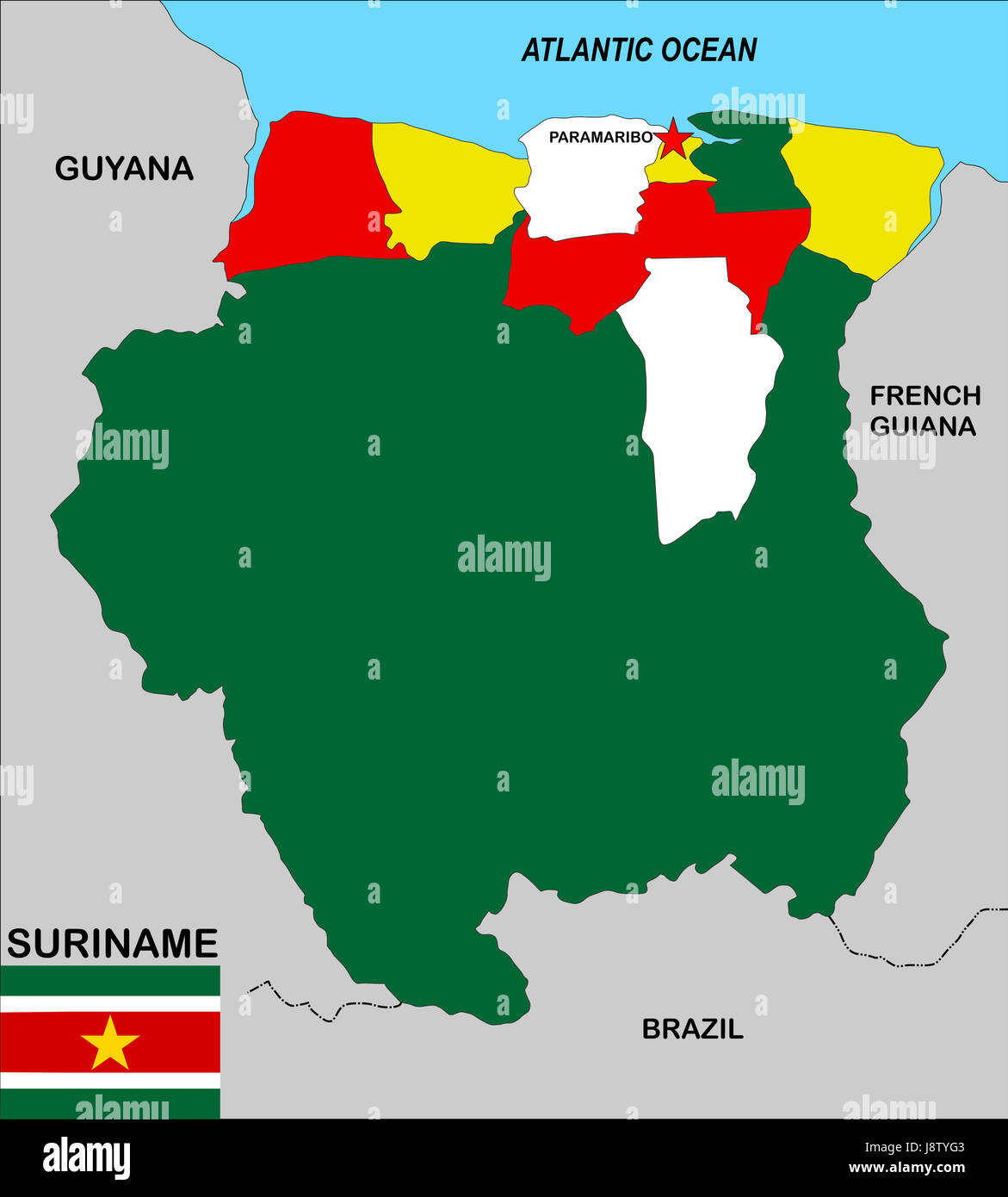 Suriname Map Atlas Map Of The World Political Flag Country - paramaribo map