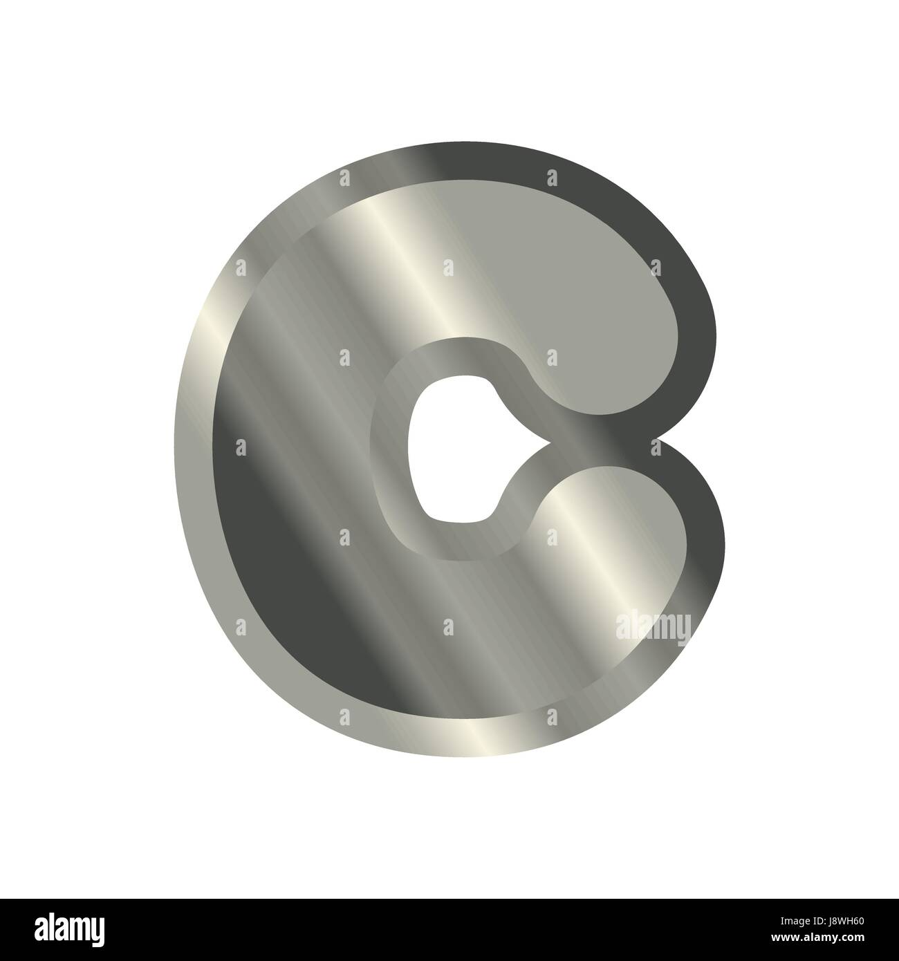 Letter C Steel Font Metal Alphabet Sign Iron Abc Symbol Chromium