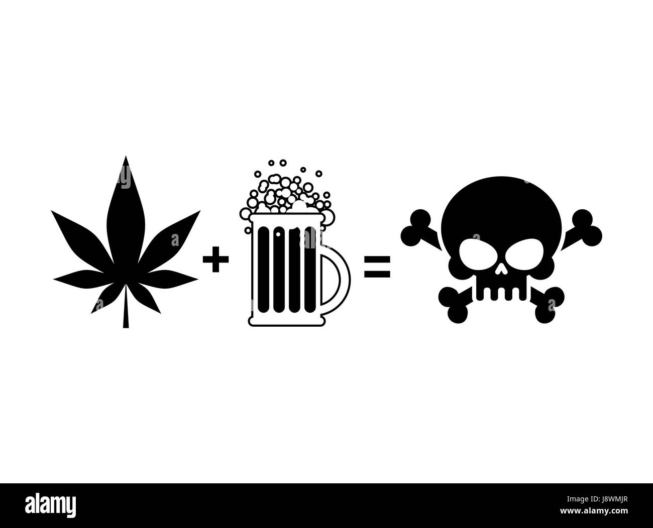 Alcohol and drugs is death mug of beer and marijuana leaf is mug of beer and marijuana leaf is equal to skull and crossbones symbol end of life biocorpaavc