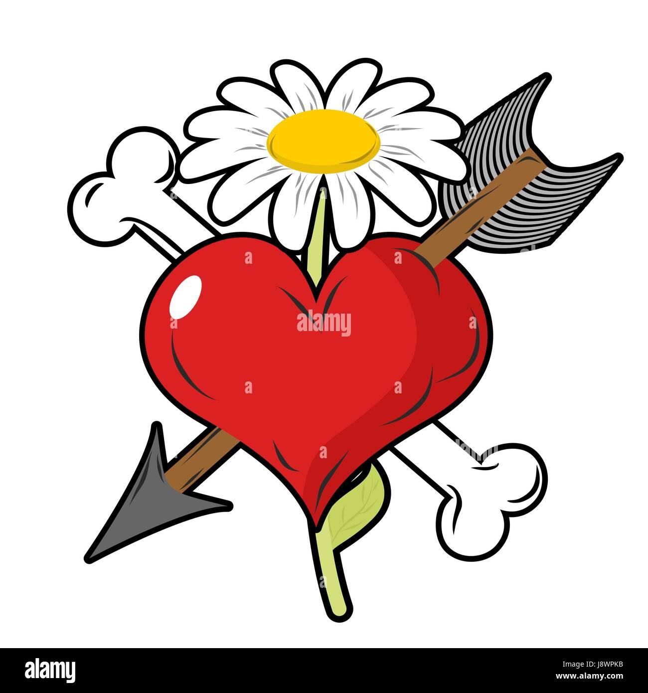 Cupid shooting love arrow vector stock photos cupid shooting love red heart piercing arrow symbol of love bone is symbol of death flower of biocorpaavc Images