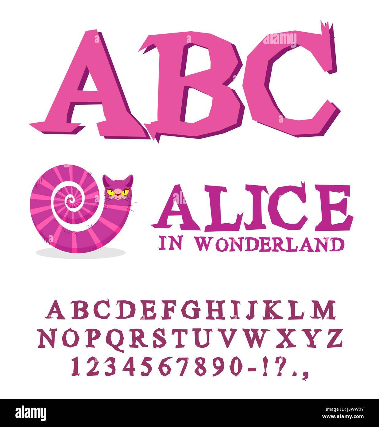 Alice in Wonderland font. Fairy ABC. mad Alphabet Cheshire Cat ...