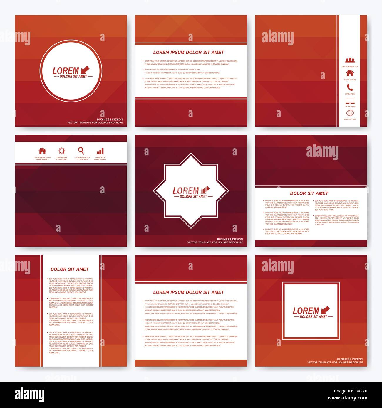 Red set vector templates for square brochure cover layout red set vector templates for square brochure cover layout magazine or report business science medicine and technology design background with dark red pronofoot35fo Choice Image