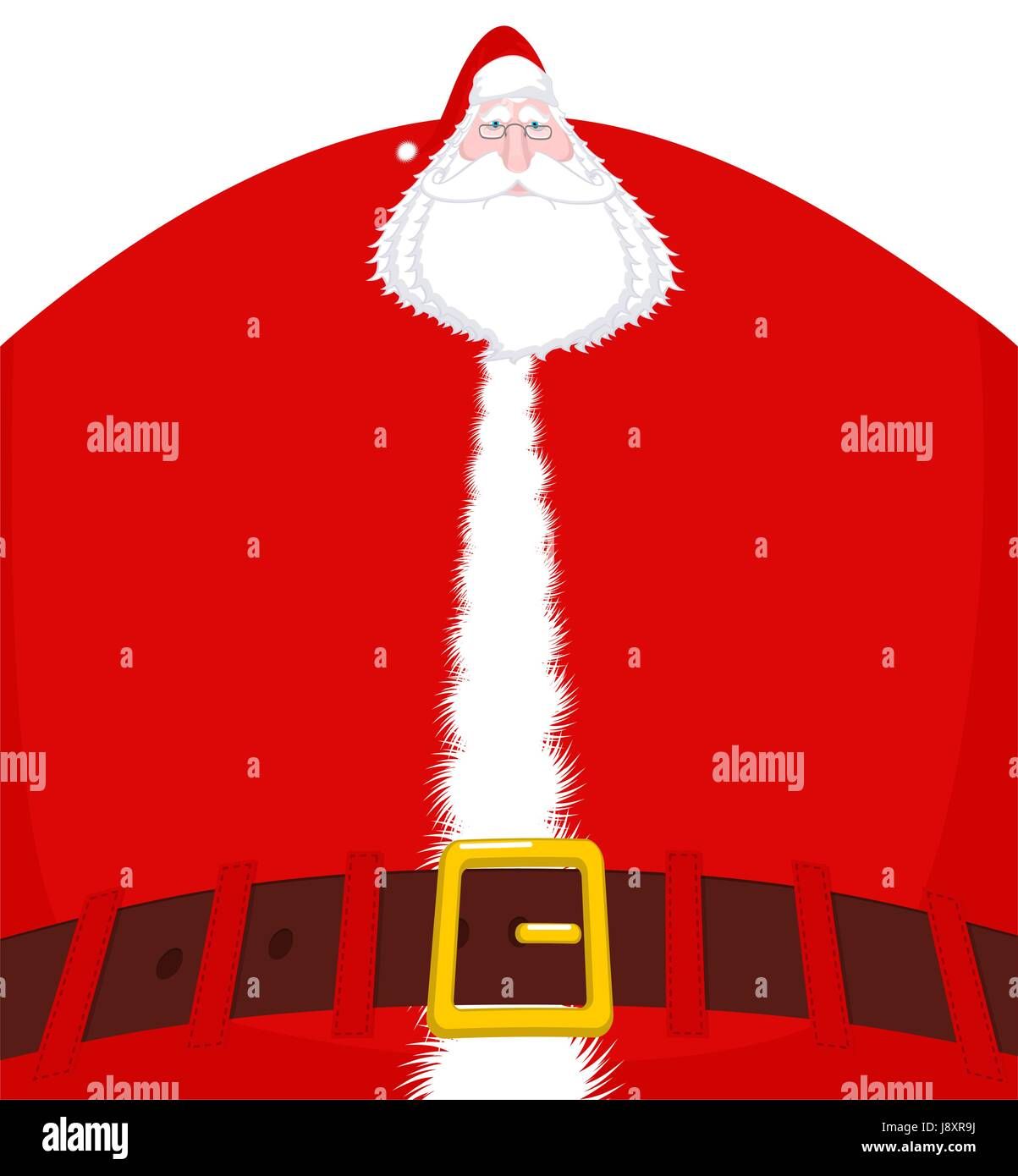 santa claus large and belt huge christmas grandfather enormous santa with beard in red suit illustration for new year - Santa Claus Belt