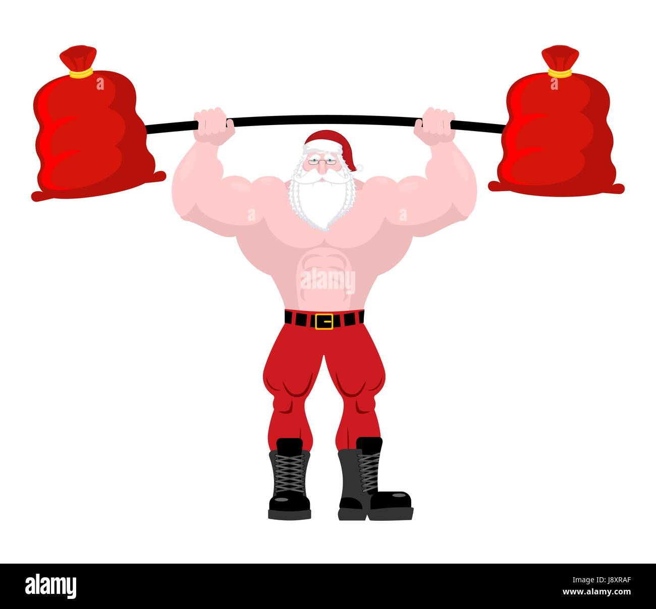 Strong santa claus lift barbell of red bag gifts powerful
