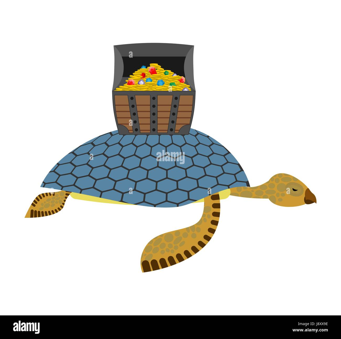 water turtle and treasure chest marine reptiles are lucky pirate