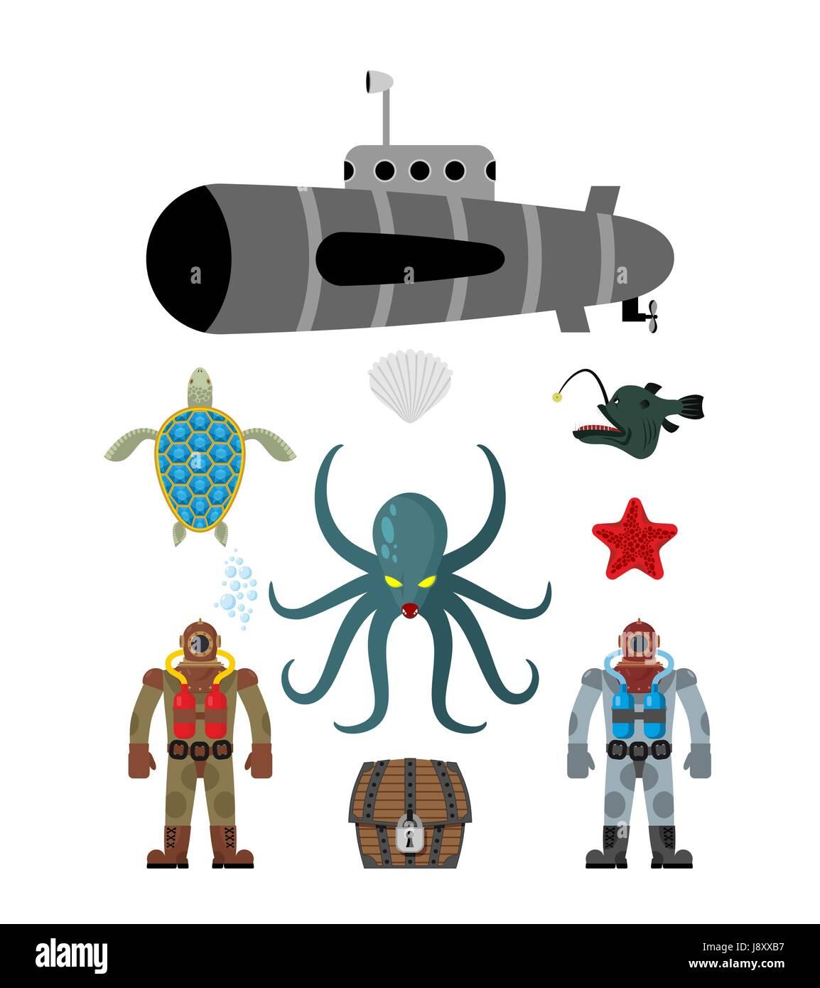 Marine set symbol divers and treasure chest octopus cthulhu and marine set symbol divers and treasure chest octopus cthulhu and submarine water turtle biocorpaavc