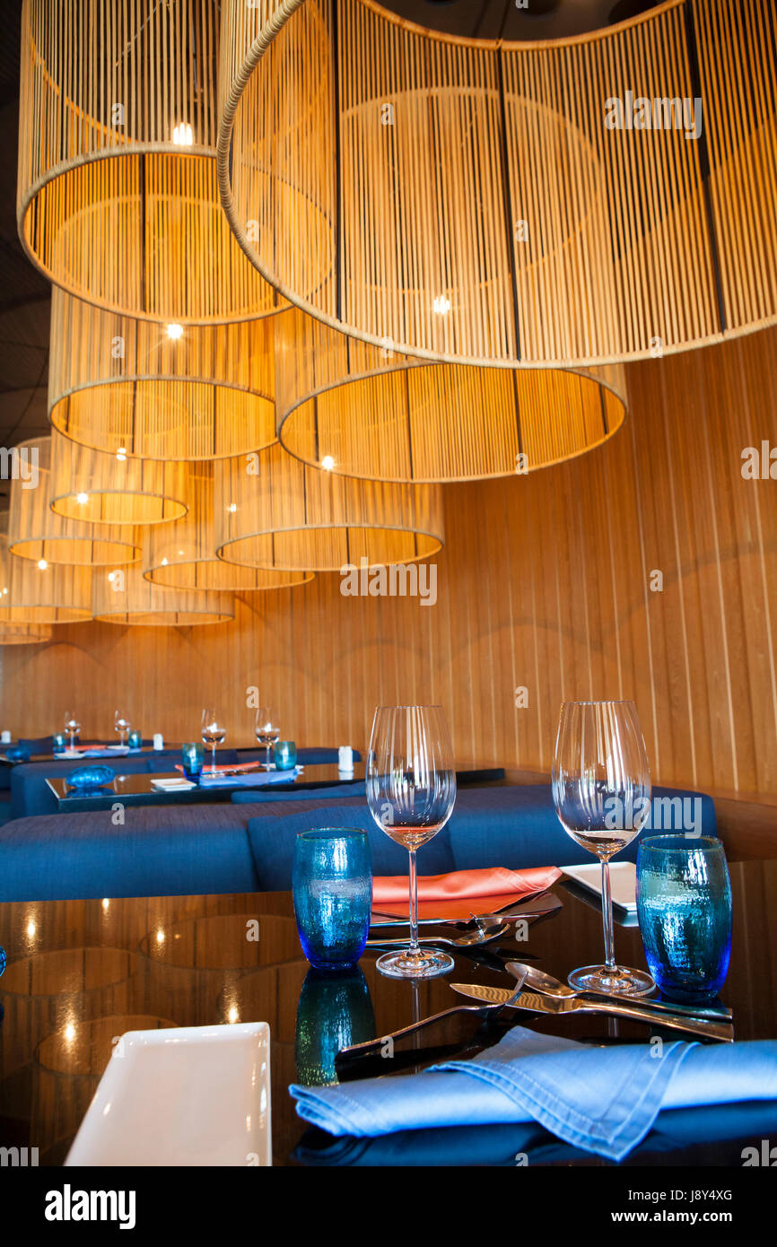 Modern restaurant table setting - Stock Photo Dining Table And Chairs In Modern Restaurant With Elegant Table Setting Romantic Atmosphere