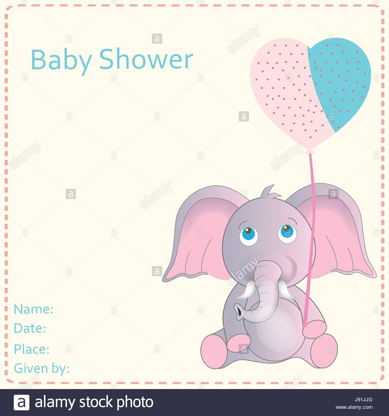 Cute Baby Shower invitation with baby elephant Stock Vector Art ...