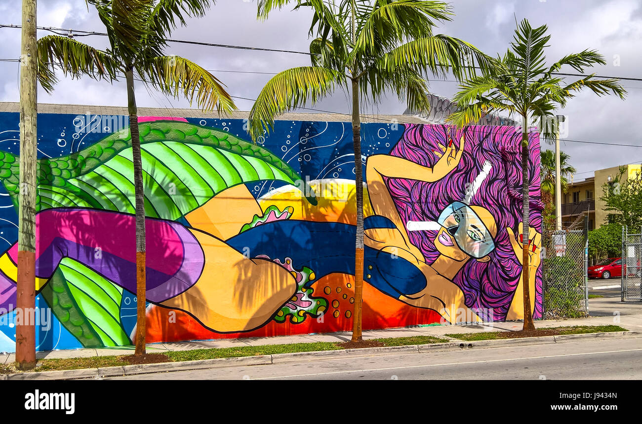 Graffiti wall usa - Graffiti Wall Decoration Wynwood Art District Miami Florida Usa