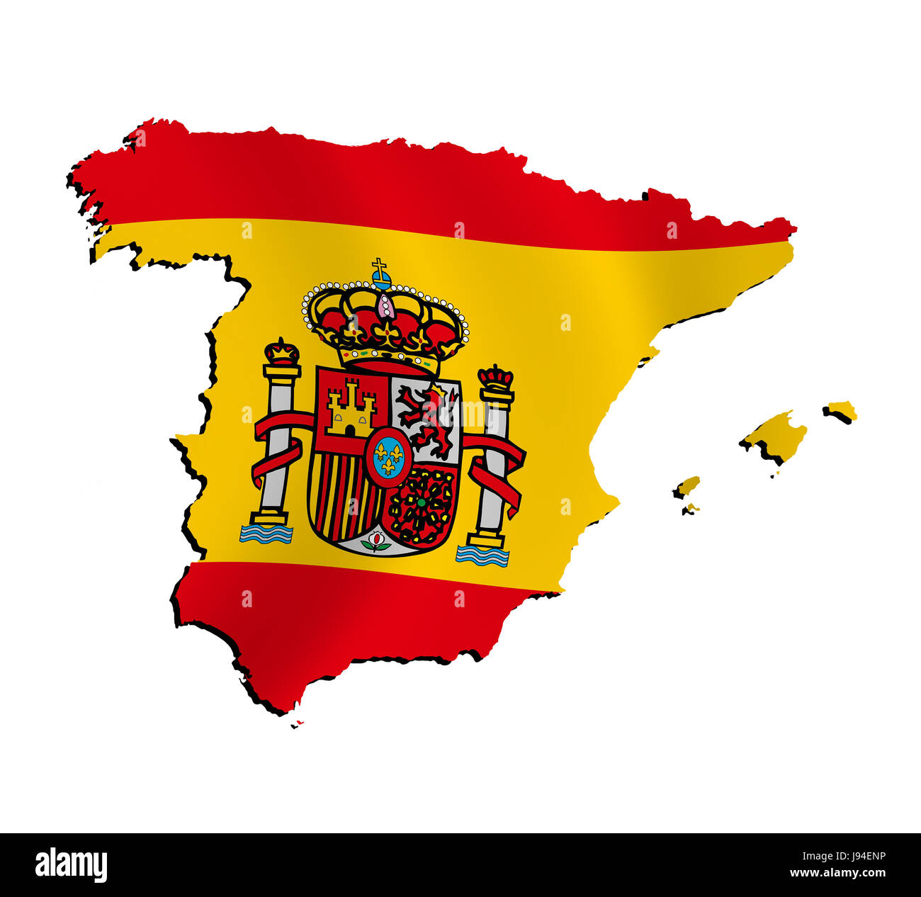 Spain Flag Border Outline Atlas Map Of The World Map Detail - Spain on world map